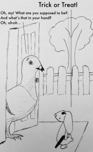 Bunny trick or treat bunreal pigeon
